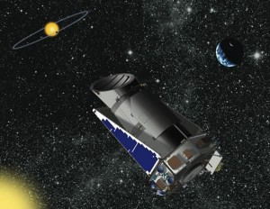 An artist's impression of the Kepler satellite orbiting the Sun behind the Earth and looking at a planet passing in front of a star. (Courtesy NASA.)  We used Kepler to look for variations from active galaxies.
